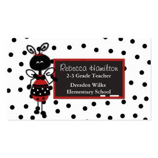 Tarjeta de la visita del profesor de la pizarra de tarjetas de visita