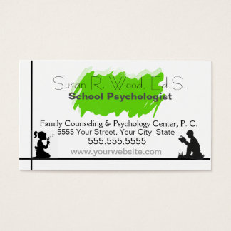 Tarjeta de la visita del psicólogo de la escuela tarjetas de visita