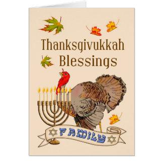 Tarjeta de las bendiciones de Thanksgivukkah -