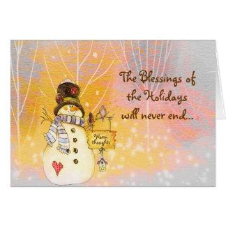Tarjeta de las bendiciones del muñeco de nieve del