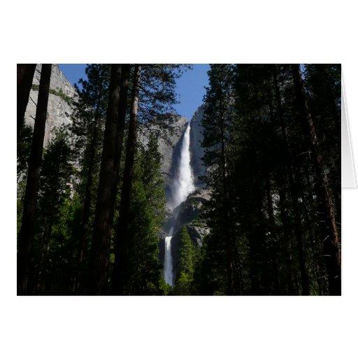 Tarjeta de las cataratas de Yosemite y de maderas