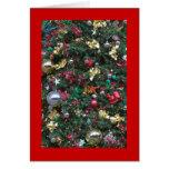 Tarjeta de las decoraciones del árbol de navidad