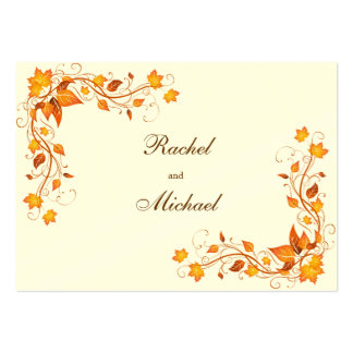 Tarjeta de las direcciones del boda del follaje de tarjetas de visita