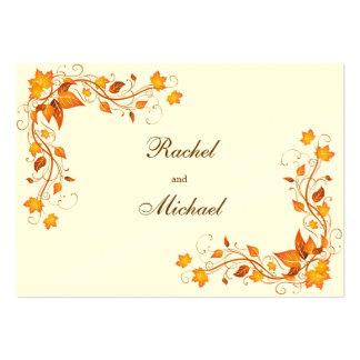 Tarjeta de las direcciones del boda del follaje tarjetas de visita grandes