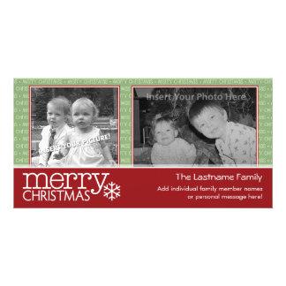 Tarjeta de las Felices Navidad con 2 fotos