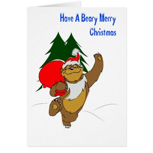 Tarjeta de las Felices Navidad de Beary