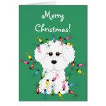 Tarjeta de las Felices Navidad de Bichon Frise