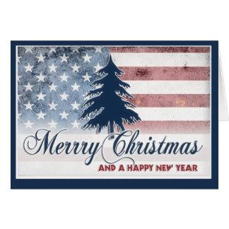 Tarjeta de las Felices Navidad de la bandera ameri
