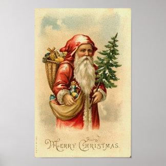 Tarjeta de las Felices Navidad de Santa, del árbol Póster