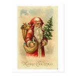Tarjeta de las Felices Navidad de Santa, del árbol Tarjetas Postales