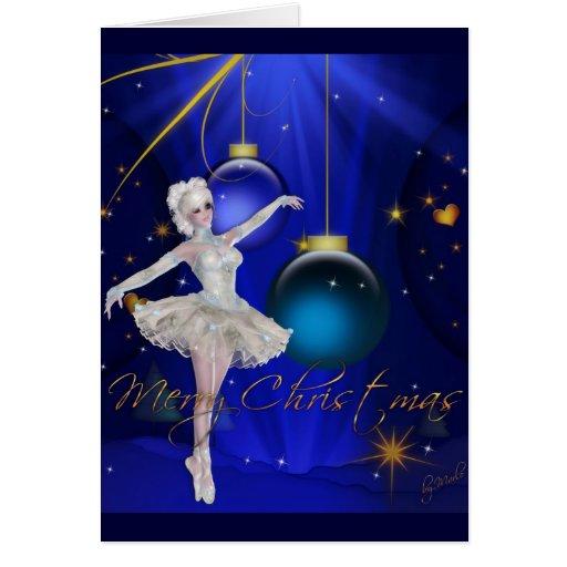 Tarjeta de las Felices Navidad del bailarín 2/Blue