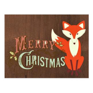 Tarjeta de las Felices Navidad del Fox de Brown Tarjetas Postales