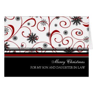 Tarjeta de las Felices Navidad del hijo y de la nu