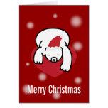 Tarjeta de las Felices Navidad del oso polar