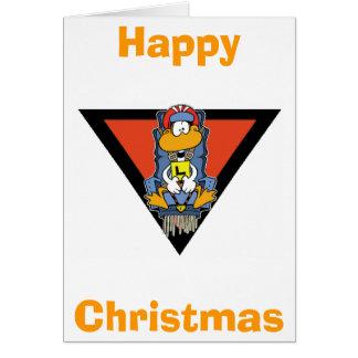 Tarjeta de las felices Navidad del pato del dibujo