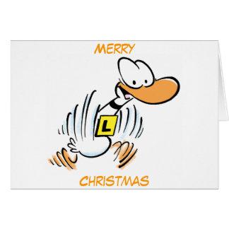 Tarjeta de las Felices Navidad del pato del tilín