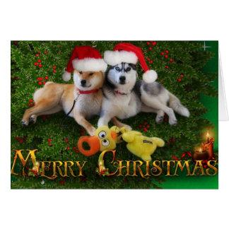Tarjeta de las Felices Navidad del perro