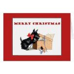 Tarjeta de las Felices Navidad del perro del escoc