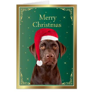 Tarjeta de las Felices Navidad del perro del labra