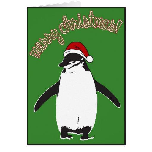 Tarjeta de las Felices Navidad del pingüino