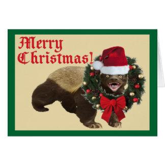 Tarjeta de las Felices Navidad del tejón de miel