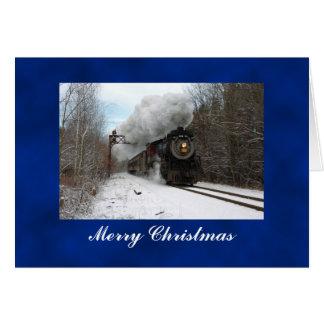 Tarjeta de las Felices Navidad del tren del vapor