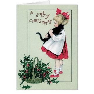 Tarjeta de las Felices Navidad del vintage - chica
