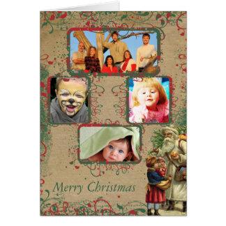 Tarjeta de las fotos del navidad 4 de Santa del vi