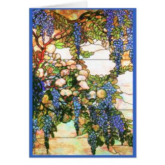 Tarjeta de las glicinias del vitral de Tiffany