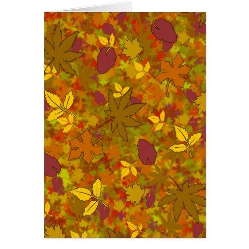 Tarjeta de las hojas de otoño