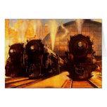 Tarjeta de las locomotoras del rr del ferrocarril
