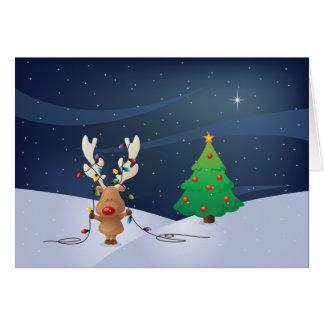 Tarjeta de las luces de navidad de Rudolph