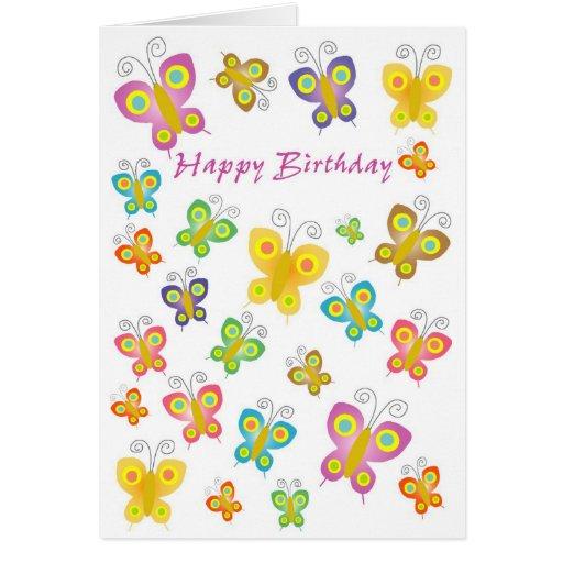 Tarjeta de las mariposas del feliz cumpleaños