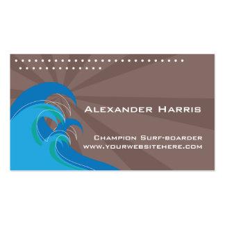 Tarjeta de las ondas que practica surf tarjetas de visita