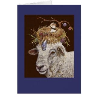 Tarjeta de las ovejas de la isla del ciruelo