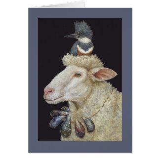 Tarjeta de las ovejas de la orilla