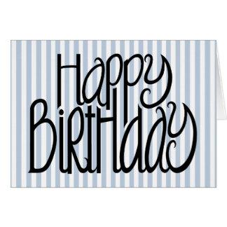 Tarjeta de las rayas azules del feliz cumpleaños