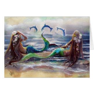 Tarjeta de las sirenas y de los delfínes