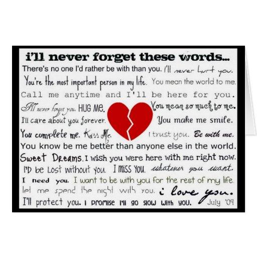 Tarjeta de letra de amor