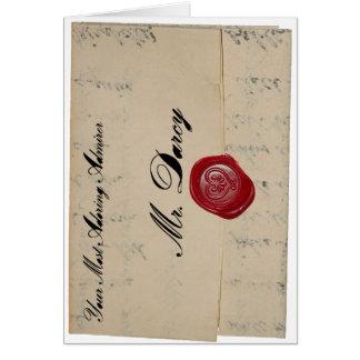 Tarjeta de letra de amor de Sr. Darcy