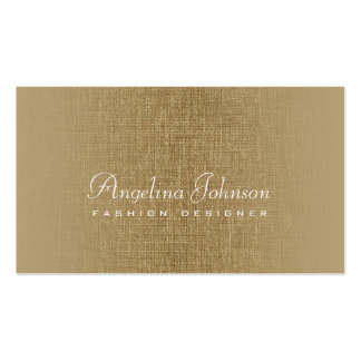 Tarjeta de lino de bronce simple del diseñador de  tarjetas de visita