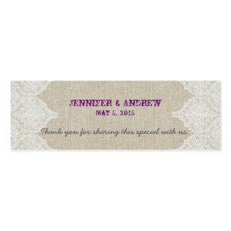 Tarjeta de lino del favor del boda del vintage del tarjetas de visita