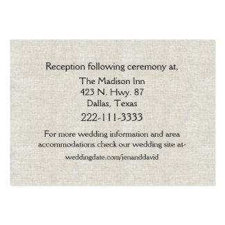 Tarjeta de lino elegante del recinto del boda de l tarjeta personal
