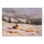 Tarjeta de los alces de la montaña del invierno