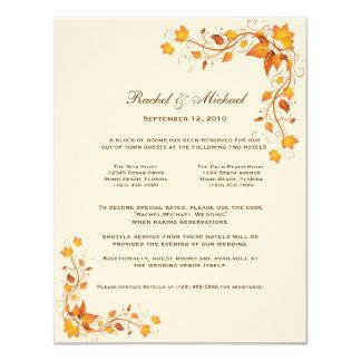 """Tarjeta de los alojamientos del boda del follaje invitación 4.25"""" x 5.5"""""""