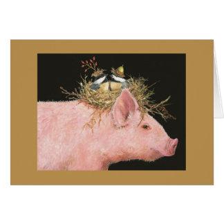 tarjeta de los amigos del cerdo y del chickadee
