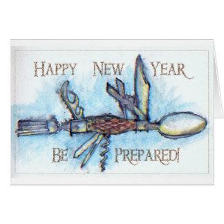 Tarjeta de los Años Nuevos del cuchillo del boy