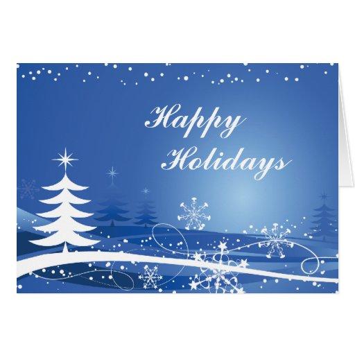 Tarjeta de los árboles de navidad de los copos de