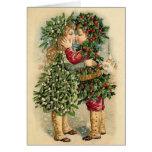 Tarjeta de los besos del navidad del Victorian