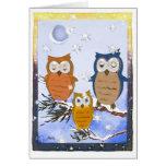 Tarjeta de los búhos del copo de nieve